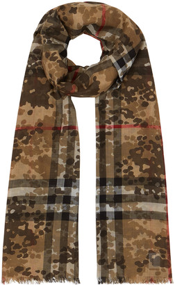 Burberry Men's Camo Giant Check Wool-Silk Scarf