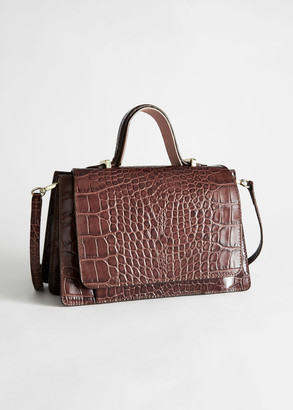 And other stories Croc Embossed Leather Duo Strap Bag