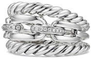 David Yurman Wellesley Sterling Silver Three-Row Ring with Diamonds