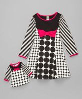 Dollie & Me Black & White Circle Dress & Doll Outfit - Girls