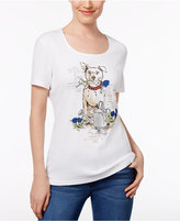 Karen Scott Petite Dog Graphic T-Shirt, Only at Macy's