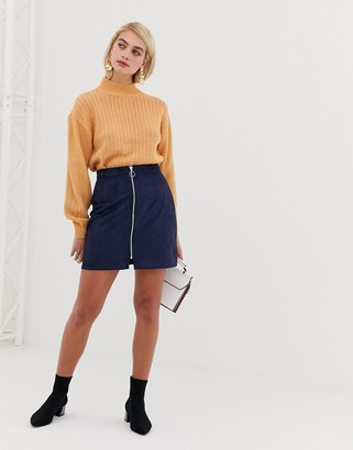 Vero Moda faux suede zip front mini skirt in navy
