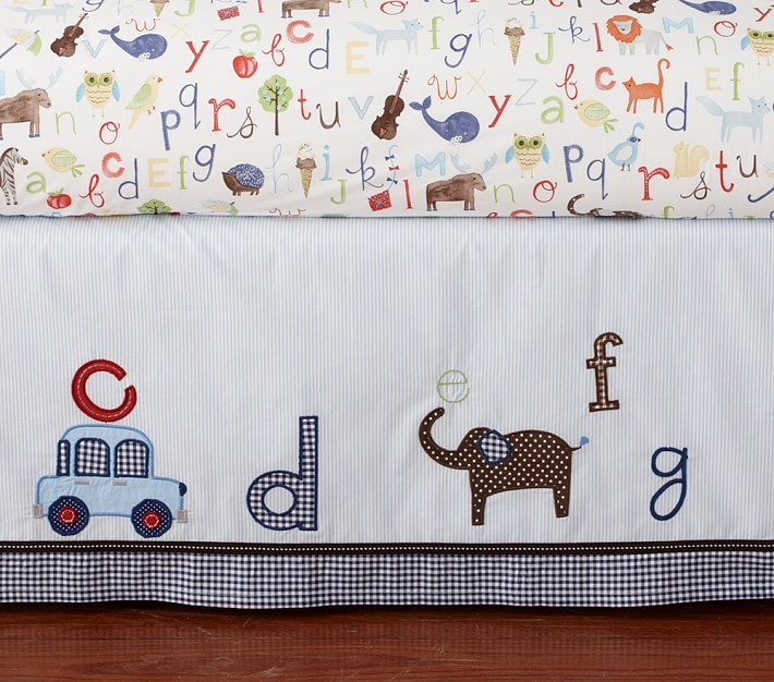 Pottery Barn Kids Animal Alphabet Crib Skirt