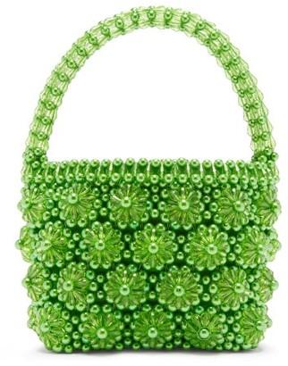 Shrimps Shelly Beaded Floral Handbag - Green