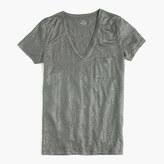 J.Crew Linen V-neck pocket T-shirt in metallic