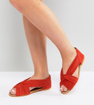 Asos Design JANEL Wide Fit Suede Summer Shoes-Red