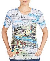 Allison Daley Short Sleeve Seaside Print Embellished Details Knit Top