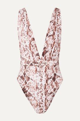 Nicholas Belted Snake-print Swimsuit - Snake print