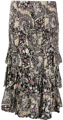 Etoile Isabel Marant Abstract-Print Tiered Skirt