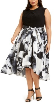 SL Fashions Plus Size Embellished-Neck Floral-Skirt Dress