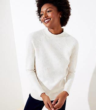 LOFT Petite Flecked Mock Neck Sweater