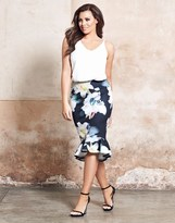 Jessica Wright Floral Print Frill Hem Skirt