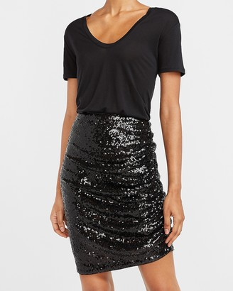 Express High Waisted Sequin Ruched Mini Skirt