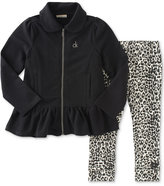 Calvin Klein Baby Girls' 2-Pc. Zip-Up Peplum Jacket & Animal-Print Leggings Set