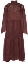 Chloé Ruffled Smocked Silk-georgette Dress - Merlot