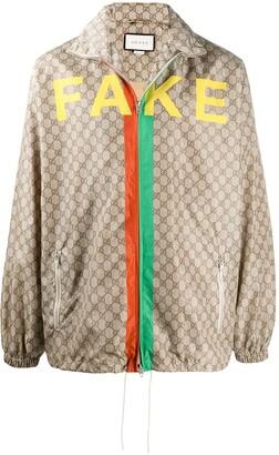 Gucci GG Supreme canvas 'Not Fake'-print jacket