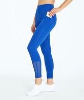 Bally Total Fitness Women's Leggings SURF - Blue Surf the Web 25'' Chevron-Mesh Pocket Chevy Crop Leggings - Women