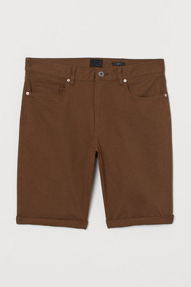 H&M Slim Fit Twill Shorts - Brown