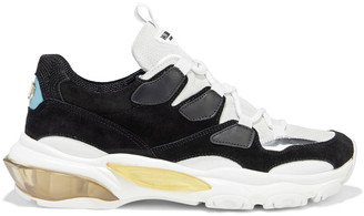 Valentino Leather-trimmed Suede Exaggerated-sole Sneakers