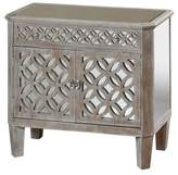 Stylecraft Distressed Wood 2 Door Chest with Mirrored Accents and 1 Drawer Flanked By Filigree - Grey