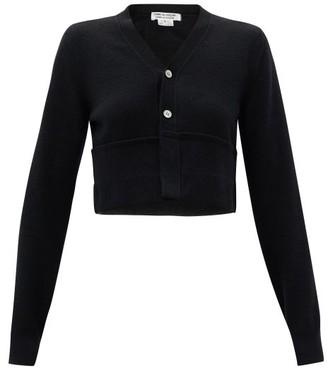 Comme des Garçons Comme des Garçons Cropped Turn-up Hem Wool Cardigan - Black