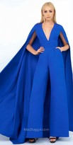 Mac Duggal V-Shape Wide Leg Jumpsuit with Floor Length Cape