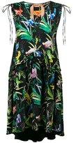No.21 bird print V-neck dress - women - Silk/Acetate - 38