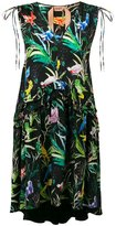 No.21 bird print V-neck dress - women - Silk/Acetate - 40