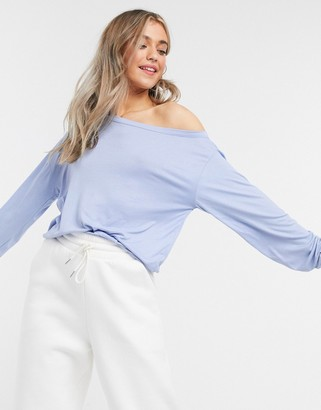 In The Style x Jac Jossa loungewear ribbed off shoulder sweat top in blue