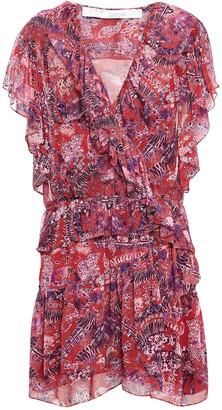 IRO Talara Wrap-effect Ruffled Printed Georgette Mini Dress