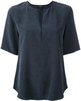 Theory open neck T-shirt - women - Silk - M