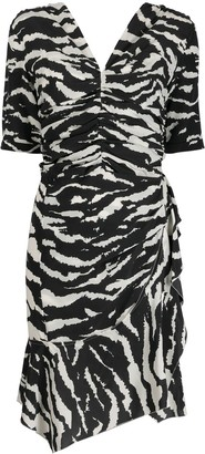 Isabel Marant Zebra-Print Ruched Dress