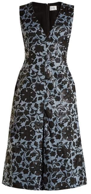 Erdem Kamila Floral Jacquard Midi Dress - Womens - Black Blue