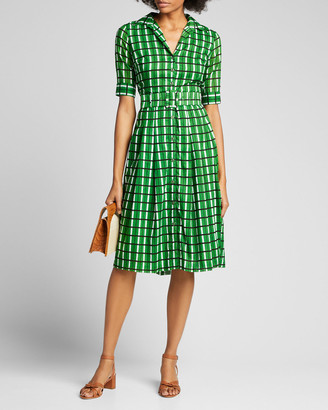 Samantha Sung Audrey 3 Roman Check 1/2-Sleeve Belted Shirtdress