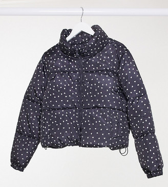 Wednesday's Girl Curve padded jacket in ditsy heart print