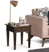 Carlton Simpli Home Collection End Table in Dark Tobacco Brown