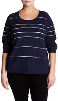 Lafayette 148 New York Ribbed Sheer Stripe Sweater (Plus Size)