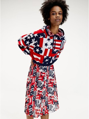 Tommy Hilfiger Pleated Button Skirt