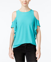 Kensie Cold-Shoulder Ruffled Top
