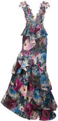 Marchesa Floral Applique Tiered Gown