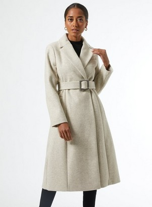 Dorothy Perkins Womens Dp Petite Ivory Belted Wrap Coat