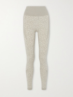 Varley Rosewood Leopard-jacquard Leggings - Light gray