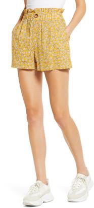 Topshop Floral Print Paperbag Waist Shorts