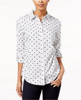 Charter Club Petite Dot-Print Striped Shirt, Only at Macy's
