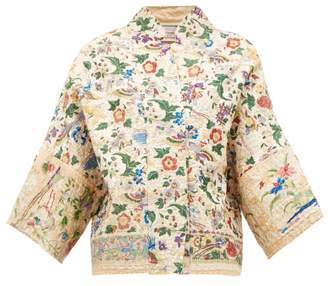 By Walid Cassie Kimono-sleeve Chinese-silk Jacket - Womens - Ivory