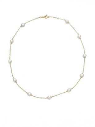 Mikimoto 18K Yellow Gold & 5.5MM White Cultured Akoya Pearl Station Necklace