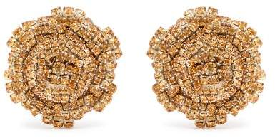 Rebecca De Ravenel Ava Crystal Embellished Rose Earrings - Womens - Brown