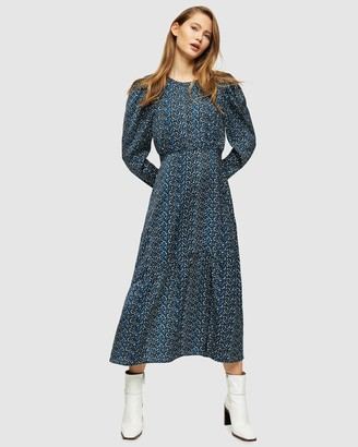 Topshop Long Sleeve Print Midi Dress