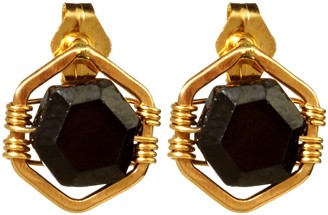 Nashelle Hexagon Stone 'Omni' Post Earrings With Onyx