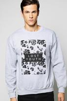 Boohoo Lost Youth Floral Crew Neck Sweater